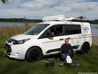 Ford Transit Connect, Mobile Ground Control Station, with pilot and drones