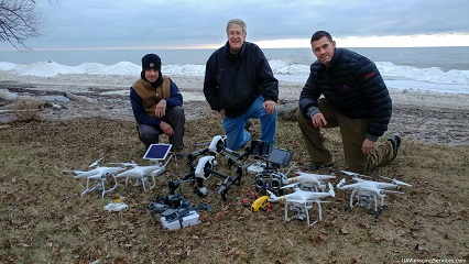 Marty and two fellow drone pilots
