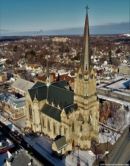 St. Michael's Church, Rochester, NY, from the air, winter with dusting of snow