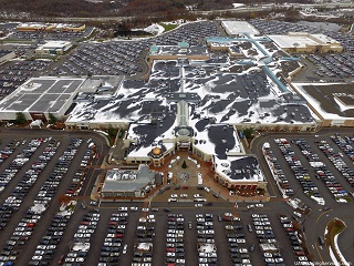 Eastview Mail from the air, snow swept roof, centered on Main Entrance