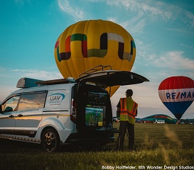 June 2020, Balloon Glow in Geneseo, NY, Marty using the Mobile Ground Control Station, credit to Bobby Hollfelder, 8th Wonder Design Studios