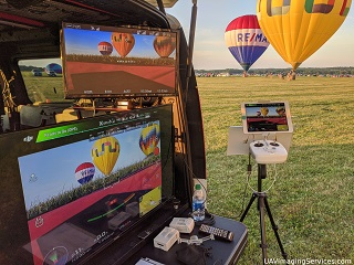 Mobile Ground Control Station parked at airfield, with hot air balloons in the background